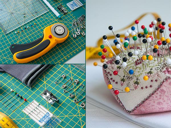 подборка инструментов для шитья, набор материалов для пэчворка, минимальный набор для шитья, раскрой ткани, роликовый нож, булавки, иголки, мат для раскройки
