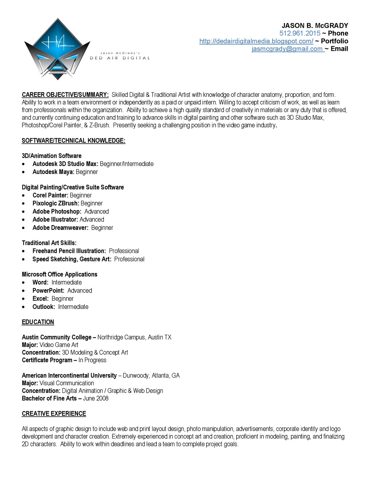 Game Modeler Resume