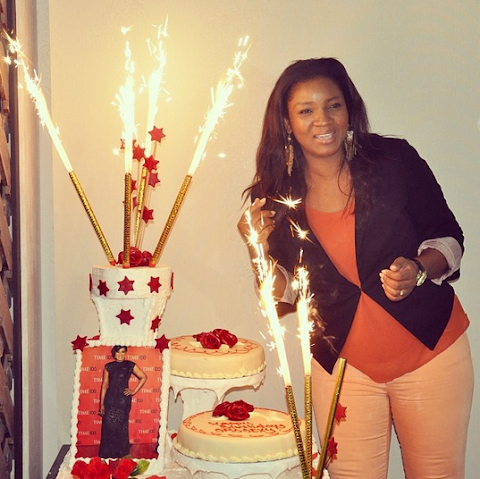 Photos from Omotola's surprise birthday party in Ghana