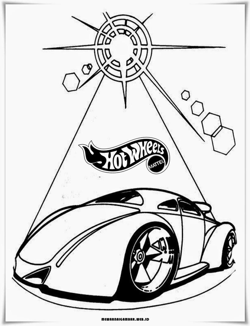 gambar sketsa mobil hot wheels hitam putih