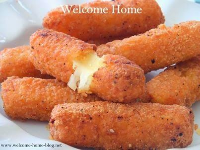 Welcome Home Blog: Homemade Deep Fried Mozzarella Sticks