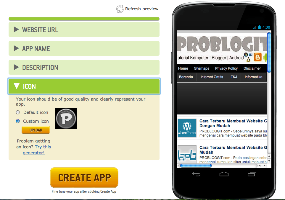 Contoh aplikasi blog android