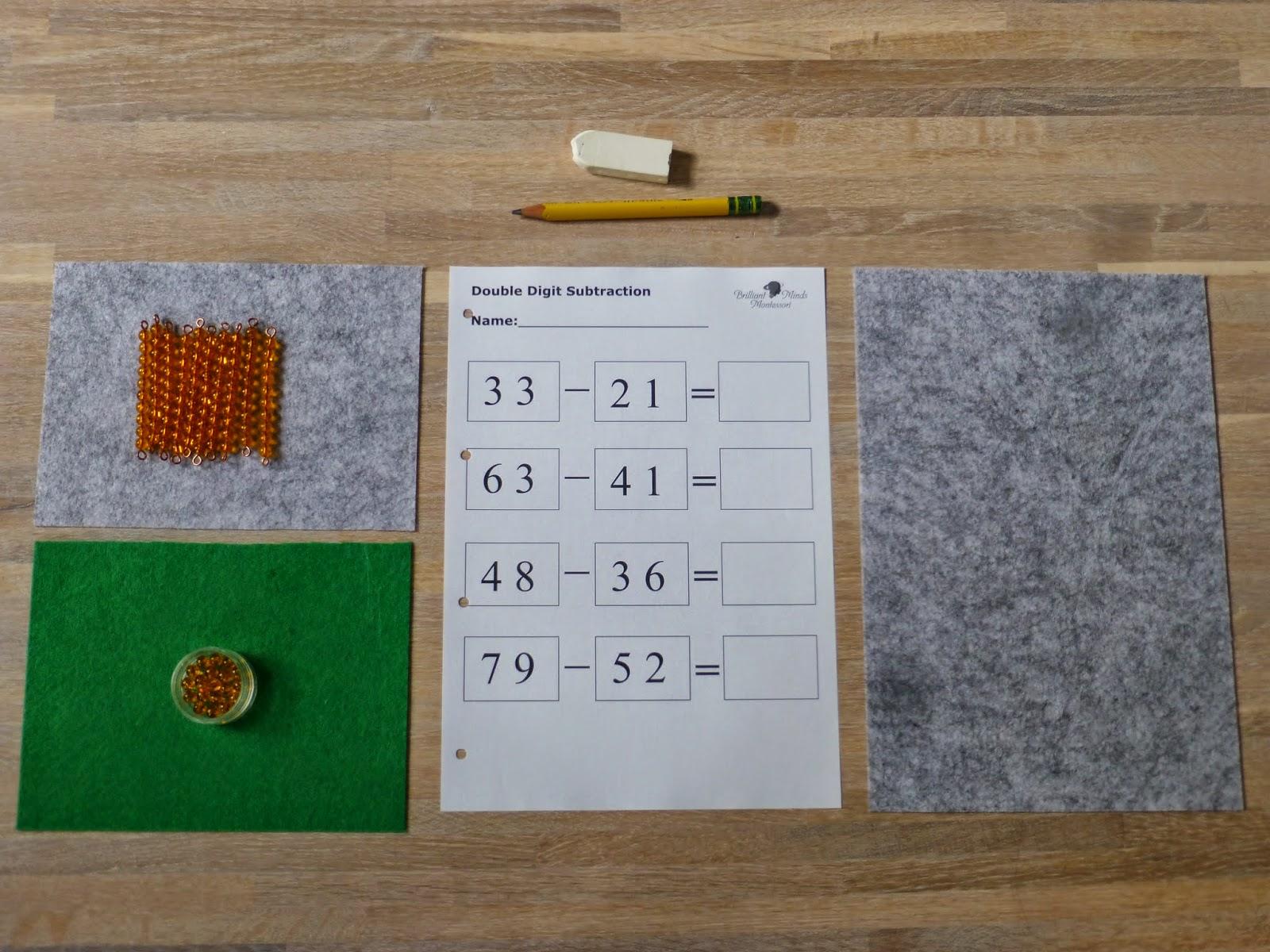 Family FECS: Montessori Activity: Static Subtraction with Golden ...