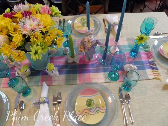 Easter tablescape, yellow, aqua, bunnies, centerpiece