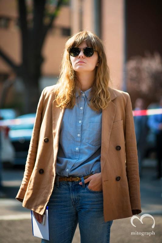 Executive Fashion and Market Editor at Interview Russia Magazine Ksenia Romanova at Milan Fashion Week.