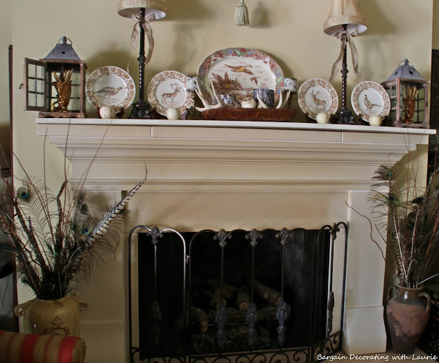 Fall Fireplace Mantel-Bargain Decorating with Laurie