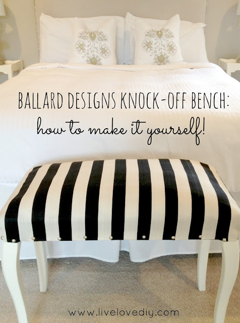 DIY Ballard Designs Knock Off Striped Bench | LiveLoveDIY