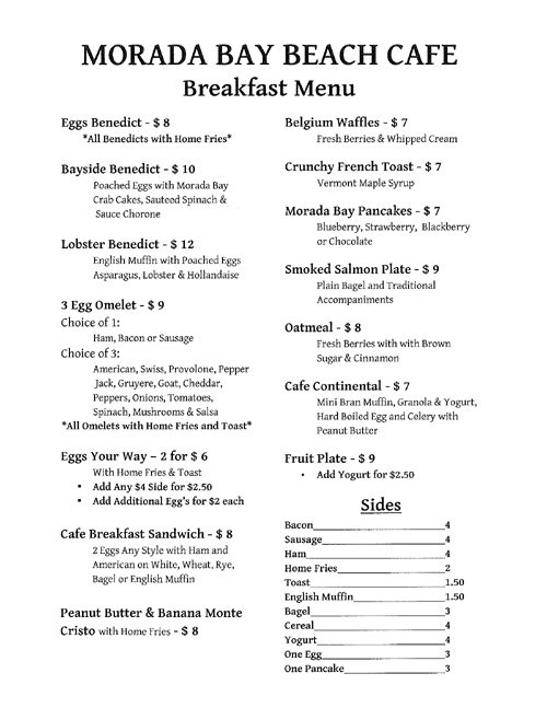 Morada Bay Cafe Menu