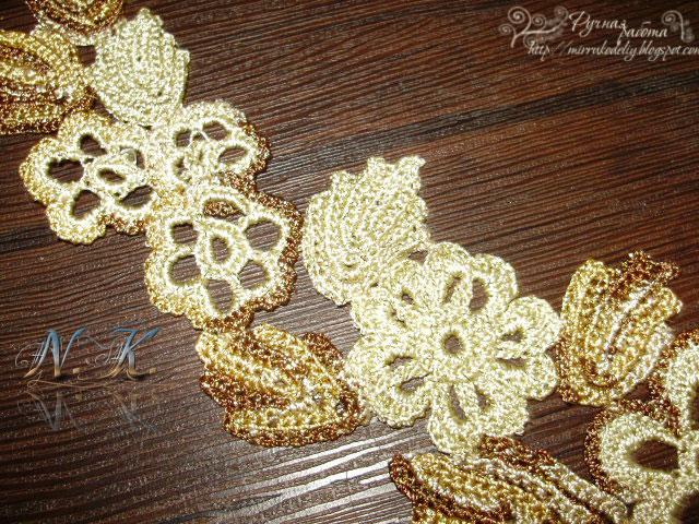 вязание крючком, ирландское кружево, воротничок, вязаное украшение, авторские работы,