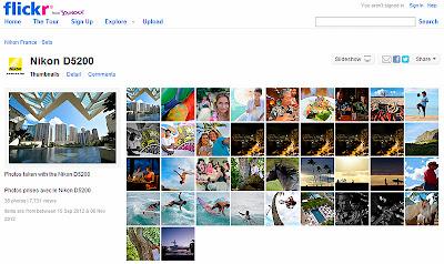 Videata della pagina di Flickr della Nikon D5200