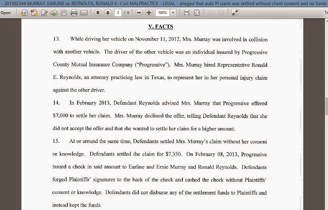 OP - 2015-02344 MURRAY, EARLINE vs. REYNOLDS, RONALD E- Civil MALPRACTICE - LEGAL - Snip of fact section in petition