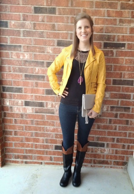 Lace Top and Yellow Jacket