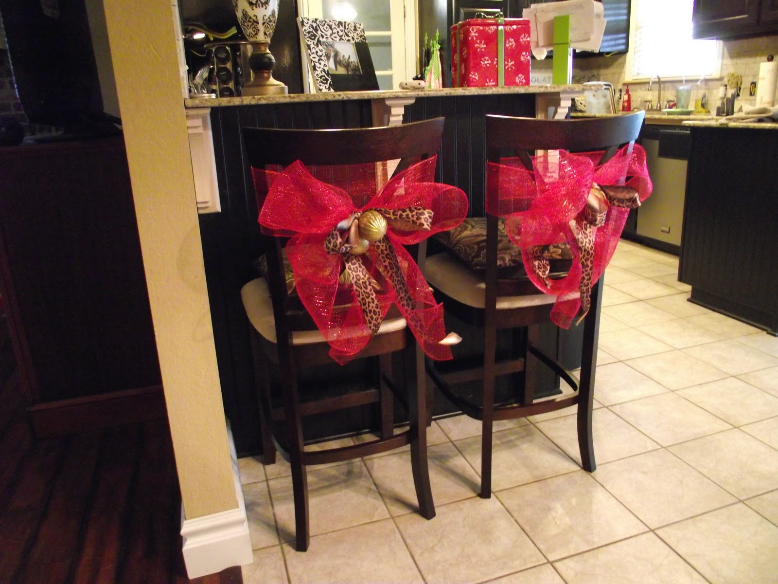 Copy cat looks diy christmas chair tiebacks for Christmas decorating ideas for dining room chairs