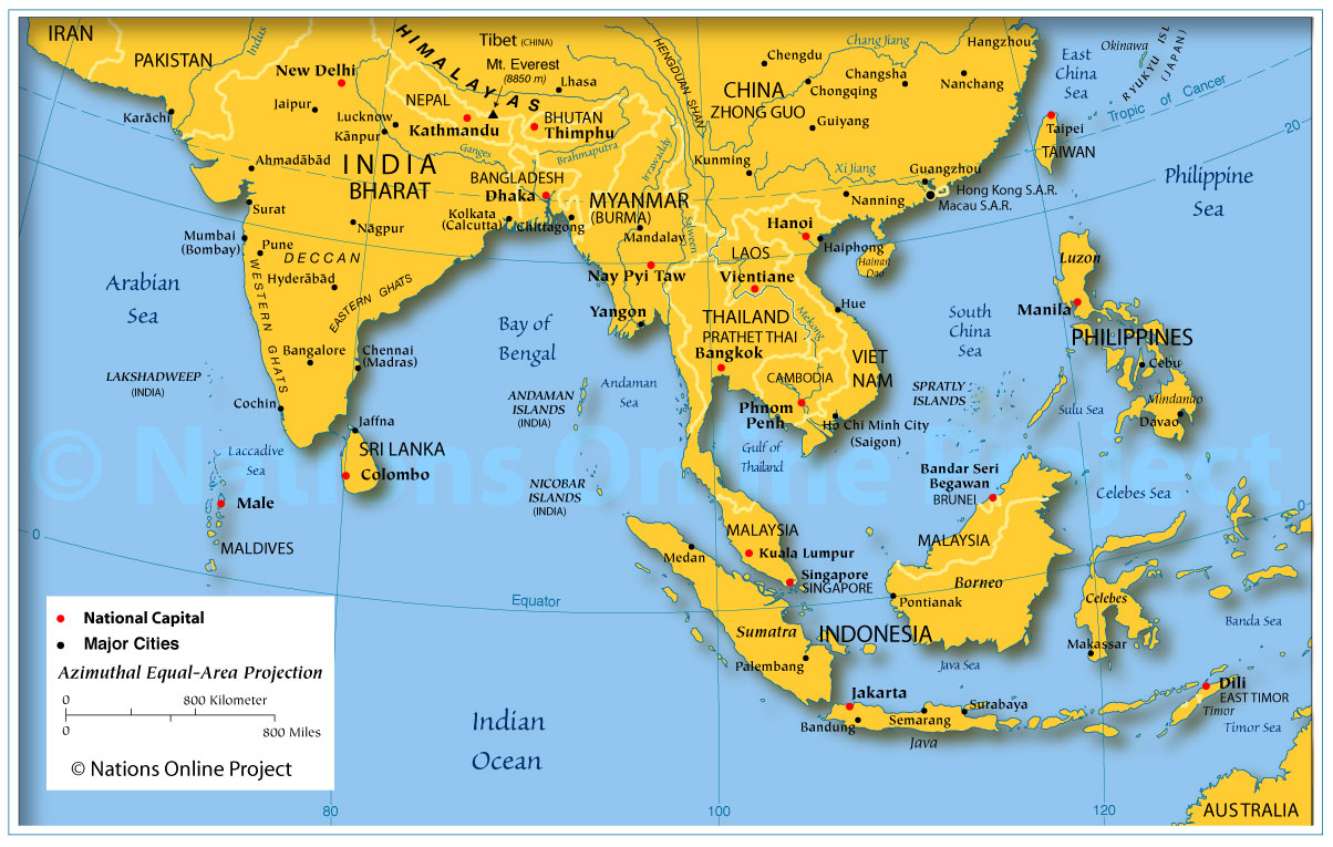 The Southern and South East Zone Maps of Asia The Largest