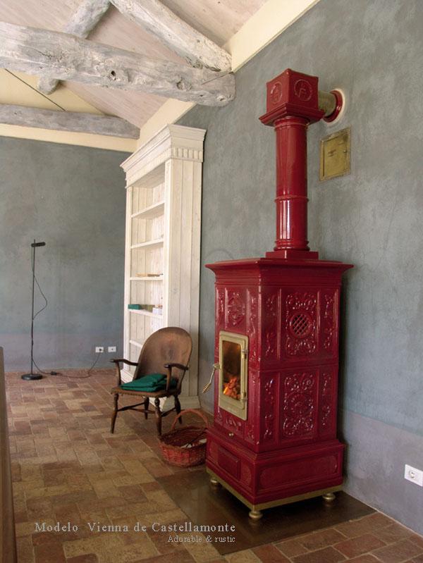 Estufa rectangular a leña roja  _Castellamonte _stove_