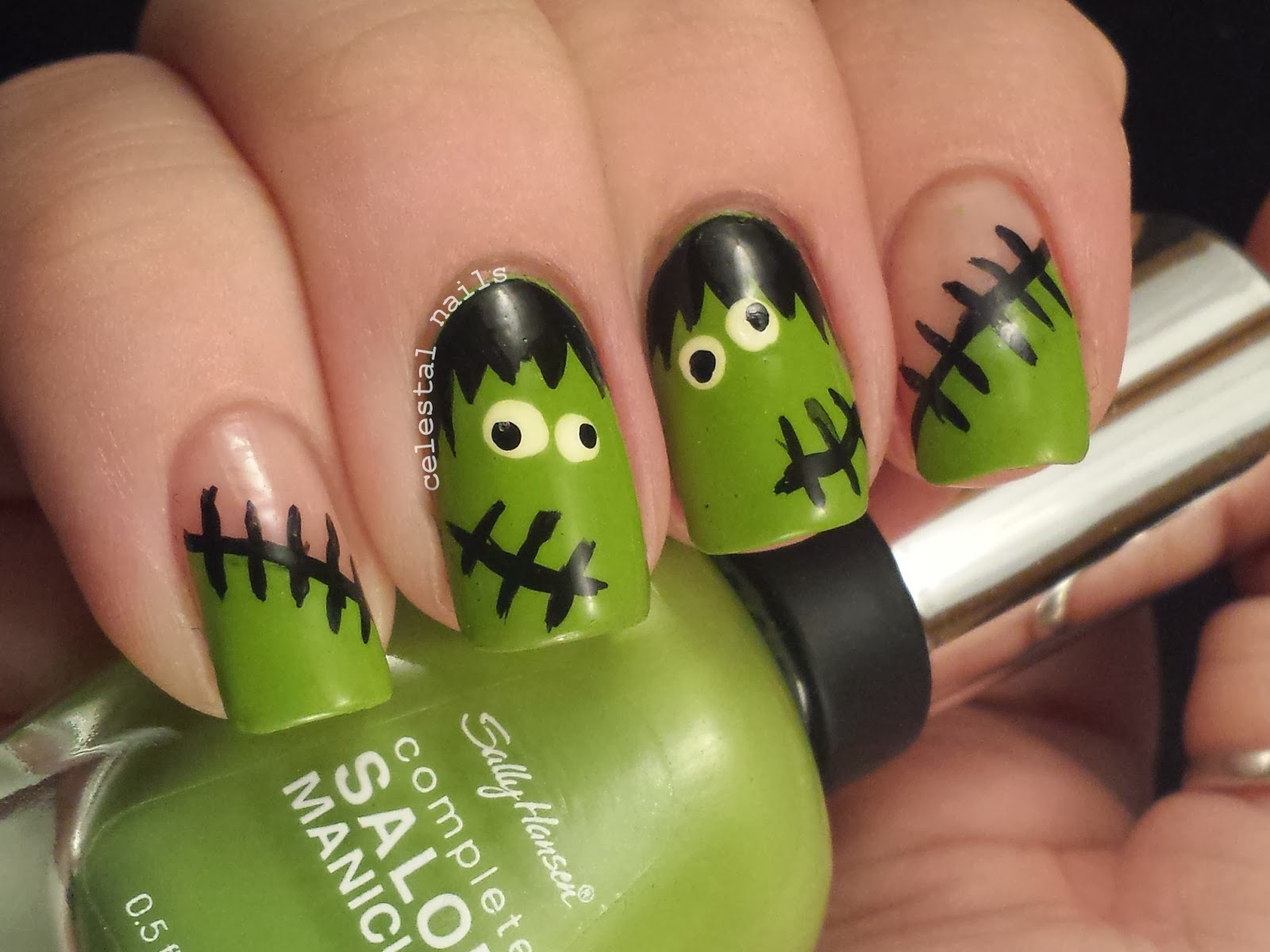 Frankenstein nail art celestal nails frankenstein nail art prinsesfo Gallery