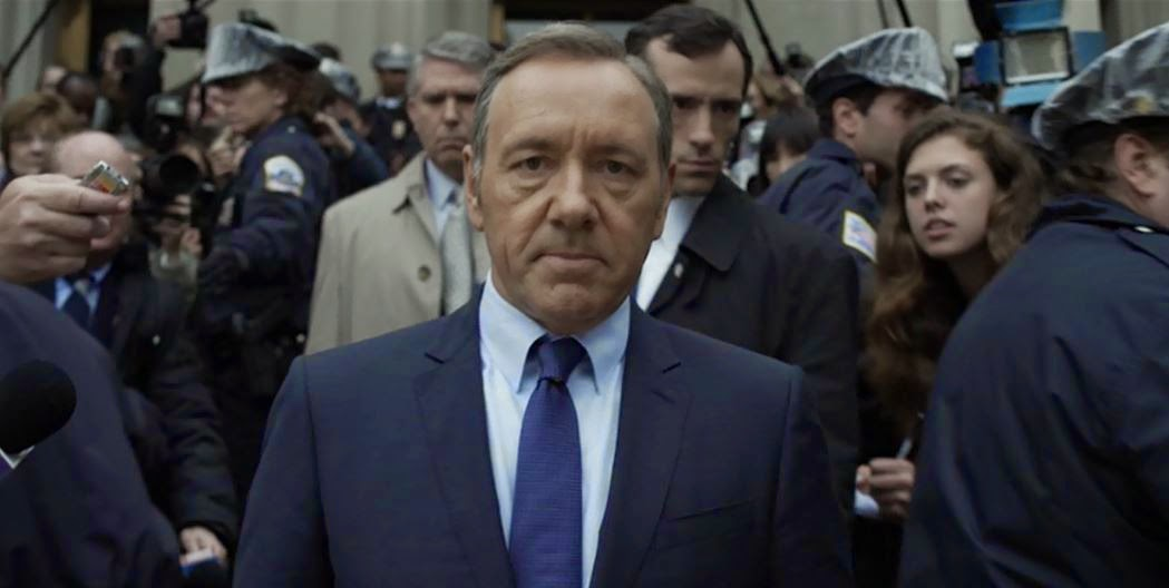 Vice President Frank Underwood emerges from the Justice Department