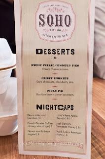 SOHO Dessert Menu