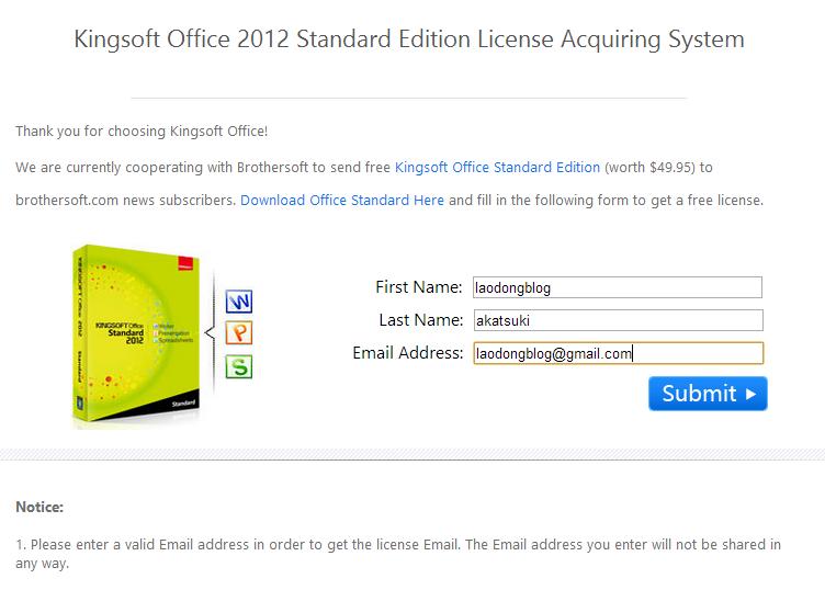 Miễn phí phần mềm Kingsoft Office Suite Free 2012