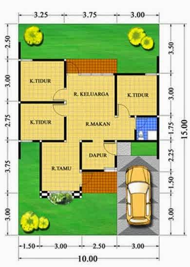 Denah Rumah Minimalis Type 36 1 Lantai 2 Kamar Tidur
