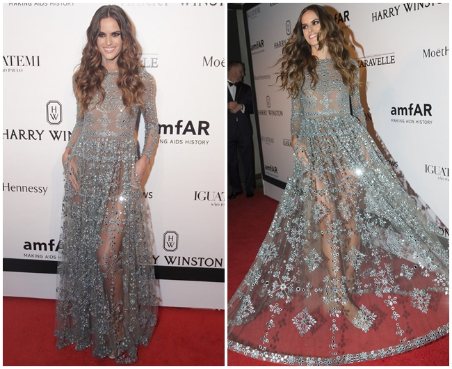 金鐘50 撞衫 2015 Golden Bell Awards:Valentino 2015 Pre-Fall Gray Tulle Gown Embellished With Shimmering Crystals on Red Carpet