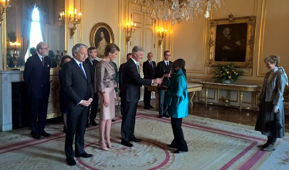 Queen Mathilde And King Philippe Attended A Ceremony At The Royal Palace
