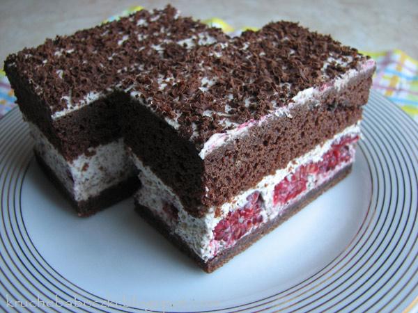 Ciasto straciatella z malinami :)