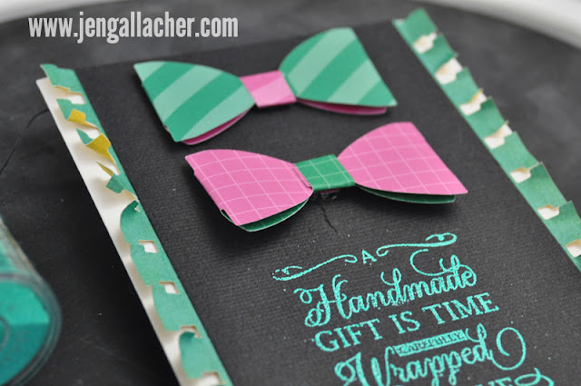 Bow Tie Stamped Card by Jen Gallacher includes video can be found at www.jengallacher.com