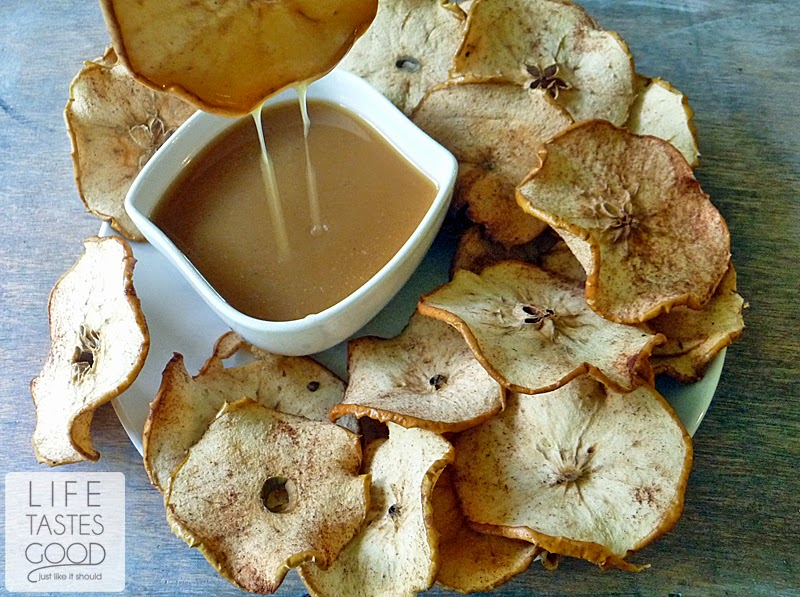 Apple Chips with Salted Caramel | by Life Tastes Good is a tasty, healthy snack you can enjoy any time of day! #Fruit #BackToSchool #LifeTastesGood