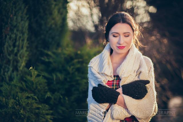 Zimowa stylizacja ślubna z motywem szkockiej kraty.