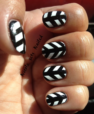 Black White Stripes Geometric Nails Nail Art