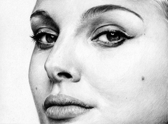 T.S. Abe desenhos a lápis hiper realistas retratos famosos Natalie Portman
