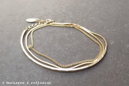 Bijoux argent plaqué or Stalactite bracelet vermeil multi-chaines