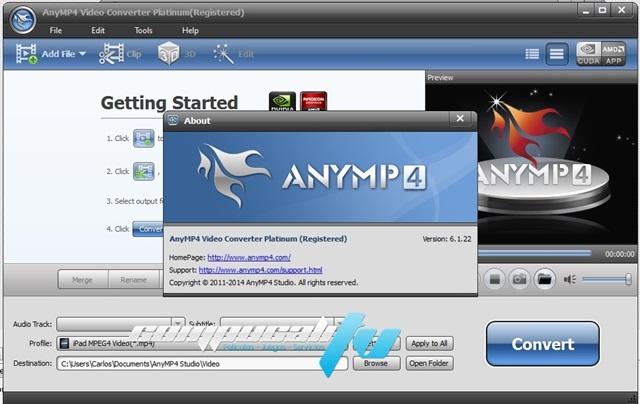 AnyMP4 Video Converter 2D a 3D Platinum 6.1