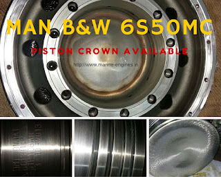 Piston Crown, piston rings, cooling pipes, turbo, cooler, skirt, screw, piston rods