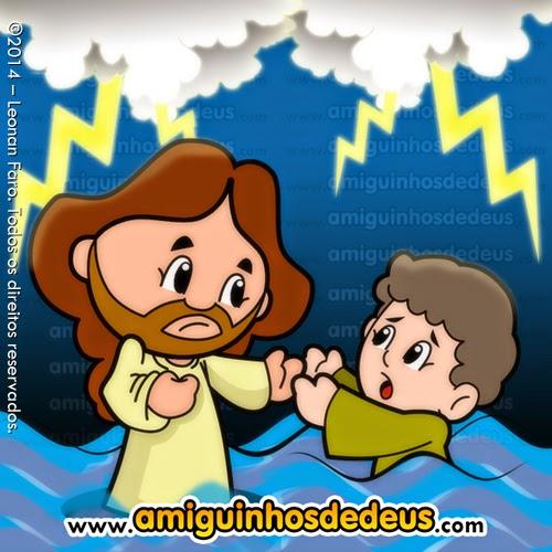 jesus anda sobre o mar desenho
