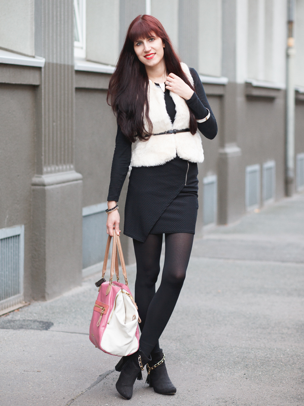Outfit fake fur vest, fellweste