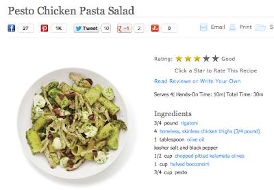 Салат из курицы с пастой и песто