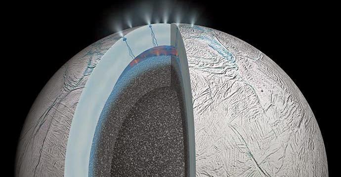 Artist's impression of possible hydrothermal activity on Enceladus's ocean floor. Credit: NASA/JPL-Caltech