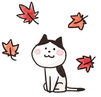 紅葉のイラスト「もみじと猫」