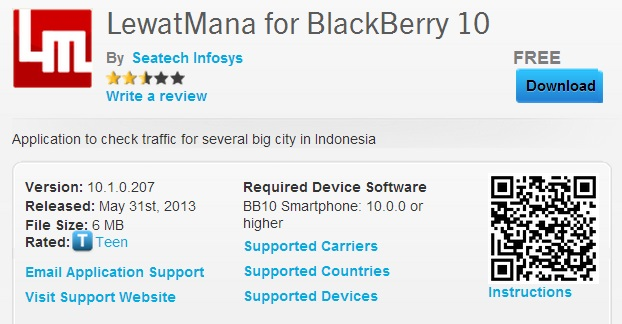 Aplikasi LewatMana di BlackBerry World