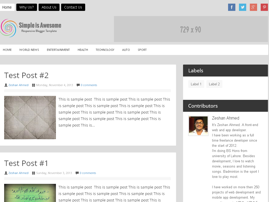 Simply Awesome Minimal Responsive Blogger Template