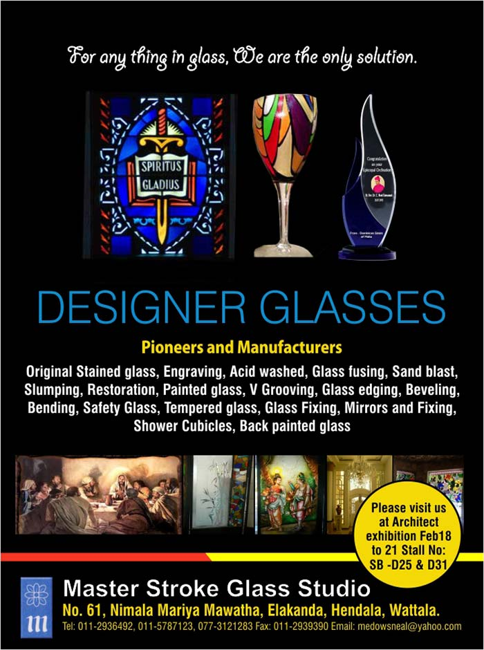 Original Stained glass, Engraving,  Acid washed,  Glass fusing,  Sand blast, Slumping, Restoration,  Painted glass, V Grooving, Glass edging, Beveling, Bending, Safety Glass,  Tempered glass,  Glass Fixing,  Mirrors and Fixing,  Shower Cubicles,  Back painted glass