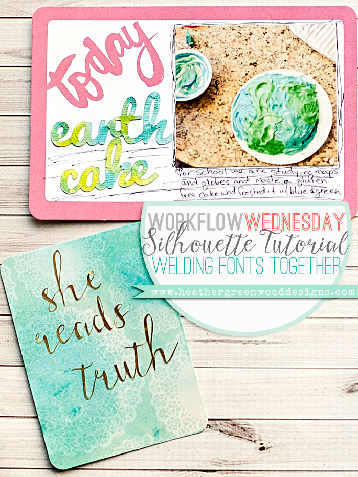 Heather Greenwood Designs | tutorial on how to weld fonts in Silhouette America Software and cutting them with printable gold foil and adhesive cardstock essentials