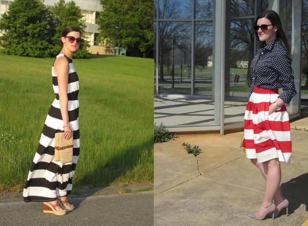 Target, Target maxi dress, striped maxi dress, black and white striped maxi dress, red and white striped skirt, eShakti, polka dots