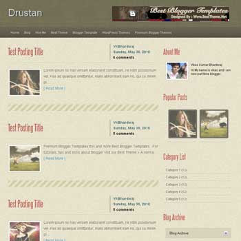 Drustan template blog. convert wordpress theme to blogger template. template blog from wordpress theme. template blog content slider. magazine style blogger template
