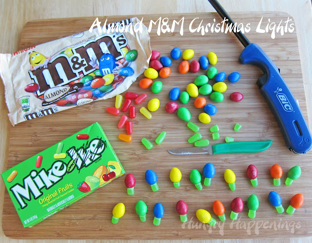 Quick and easy m m and mike and ike christmas lights for Edible christmas crafts for kids