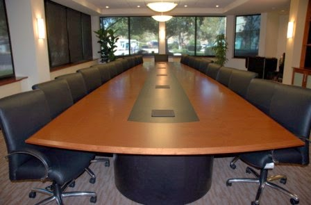 Bank of Marin's new conference table with power and data ports