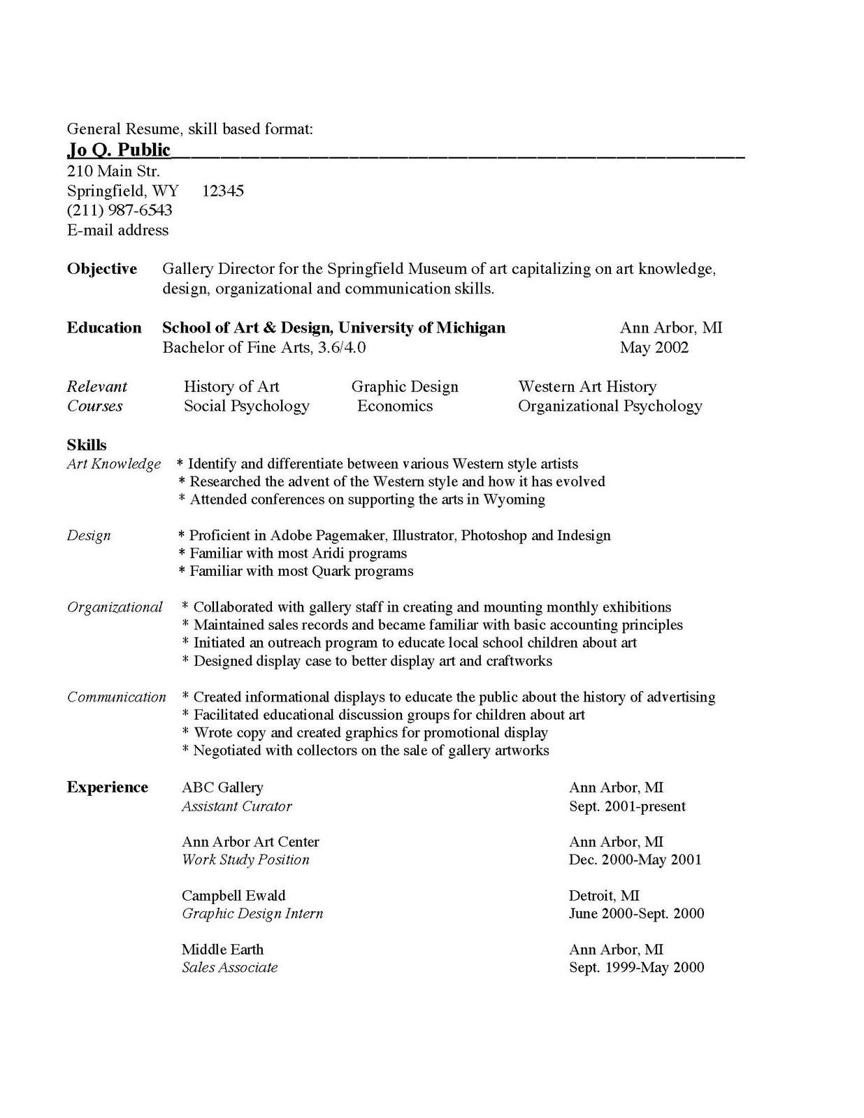Stevecampbell Hillwood Resume Formats For Artists