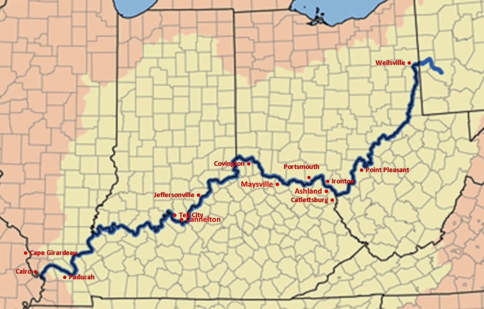 Where Is The Ohio River Map - Us map ohio river
